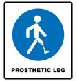 prosthetic leg sign mandatory blue symbol vector image