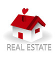 real estate red house logo vector image