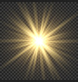 realistic sun rays yellow sun ray glow abstract vector image vector image