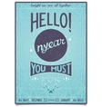 Retro new year poster with a cheerful greeting vector image vector image