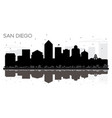 san diego city skyline black and white silhouette vector image