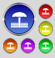 Sandbox icon sign Round symbol on bright colourful vector image