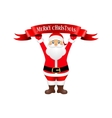 Santa Claus holding a ribbon with congratulation vector image