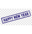 scratched happy new year rectangle stamp vector image