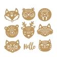 set animal faces in scandinavian vector image vector image