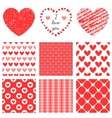 set hand-drawn textures heart shapes and vector image vector image