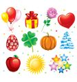 set holiday icons vector image vector image