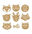Set of animal faces in Scandinavian style vector image vector image