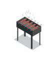 skewers cooking on grill vector image