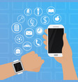smart watch on hand with phone vector image vector image