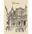 Streets Florence Italy Trevi Fountain Hand Drawn vector image