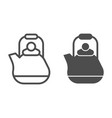 teapot line and glyph icon kettle vector image vector image