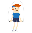 Hipster funny sportsman with skipping-rope Flat vector image