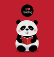 Cute panda reading a book on red background vector image