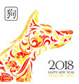 2018 chinese new year year of the yellow dog vector image vector image