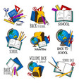 back to school education stationery icons vector image