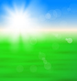 Background with shiny sun over the field vector image vector image