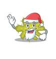 bacterium santa cartoon character with cute ok vector image vector image
