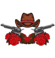 banner with two old revolvers hat and red roses vector image vector image