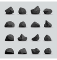 Black stones in flat style vector image
