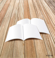 Blank catalog magazinesbook mock up on wood vector image