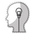 brain and lightbulb bright idea icon image vector image