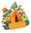 camping concept with tent vector image vector image