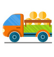 car carrying hay in a trailer vector image