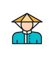 chinese man in traditional hat flat color line vector image vector image