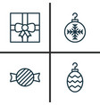 christmas icons set collection of christmas toy vector image vector image