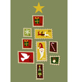 Christmas tree stamp vector image vector image