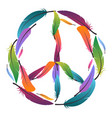 colorful sign of peace made of feathers pacific vector image vector image