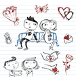 Dating set of doodles on a love theme vector image