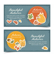 doodle autumn horizontal banners vector image vector image