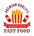 Fast food cafe symbol with takeaway french fries vector image vector image