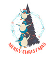 Festive Funny Merry Christmas card with three vector image vector image