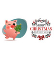 funny smiling pig with decorated xmas tree poster vector image vector image