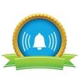 Gold alarm clock logo vector image vector image