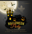 halloween night background with creepy castle vector image