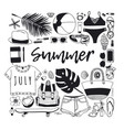 hand drawn summer pattern tropical vector image vector image