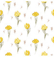 hand drawn yellow big tulips on white seamless vector image