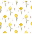 hand drawn yellow big tulips on white seamless vector image vector image