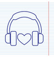 headphones with heart navy line icon on vector image vector image