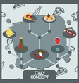 italy color concept isometric icons vector image