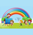 many children playing and dancing in the park vector image vector image