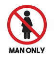 men only sign vector image vector image