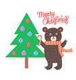 merry christmas bear and tree vector image vector image