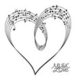 musical heart shape vector image