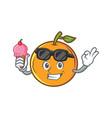 orange fruit cartoon character with ice cream vector image vector image