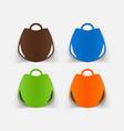 realistic paper sticker handbag vector image vector image